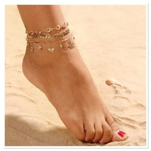 Jewelry - Triple Strand Bohemian Leaves Anklet